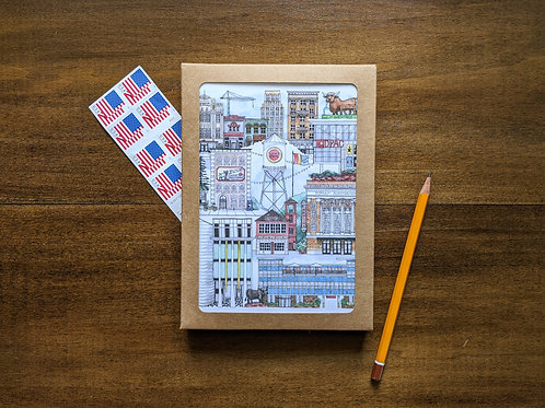 Downtown Durham, NC five pack greeting cards