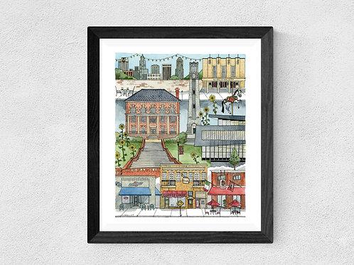 NC State, Raleigh, NC watercolor print