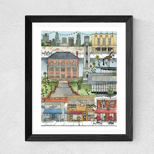 NC State, Raleigh, NC watercolor print