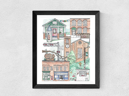 Carrboro, NC watercolor print
