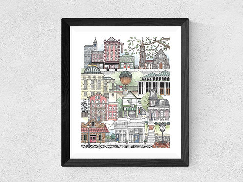 Downtown Raleigh, NC watercolor print