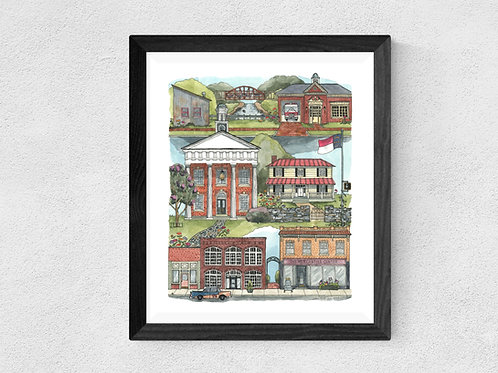 Hillsborough, NC watercolor print