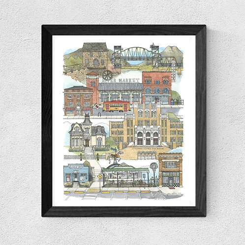 Little Rock, AR watercolor print
