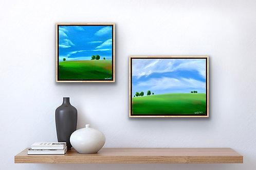Fresh Field I and II - 2 paintings - 30x30cm and 40x30cm