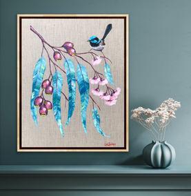 Blue Wren Pink Flowers / 40x50cm