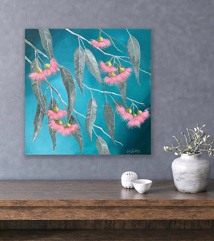 Pink Flowers on Turquoise | 30cm x 30cm