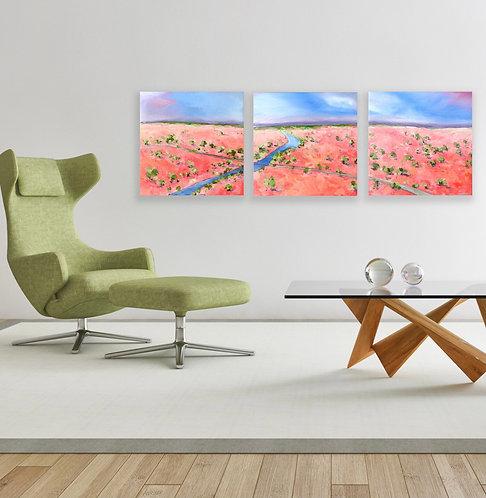 Finke River   3 paintings   150 x 50cm
