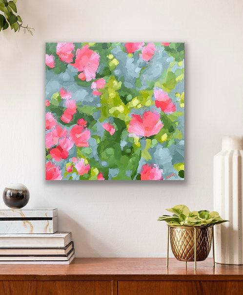 Blooms on Apple Green | 61cm x 61cm