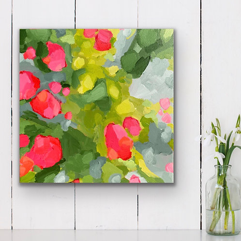 Blooms on Apple Green (mini)   30cm x 30cm