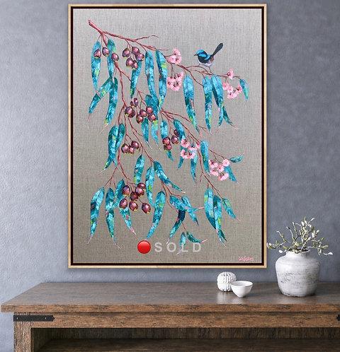 Blue Wren and Gum Leaves  |  76 x 102cm