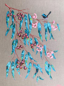 Blue Wren and Gum Leaves / 76x102cm
