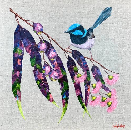 Blue Wren in the Garden  |  oil on pure linen  |  61 x 61cm