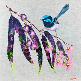 Blue Wren in the Garden / 61x61cm