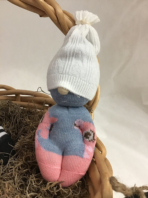 Gnome Baby Pink/Blue/White, by Marilyn Lupu