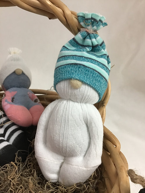 Gnome Baby White & Teal, by Marilyn Lupu