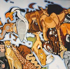 detail of World Map mural