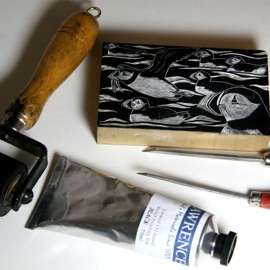 Puffins at Sea block & tools.jpg