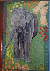 elephant with food