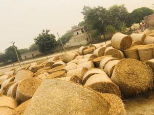 Dumping round bales