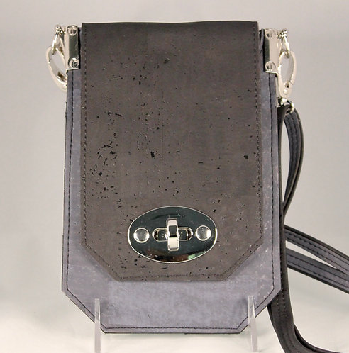Cell Phone Cross Body Handbag - Charcoal Grey & Black