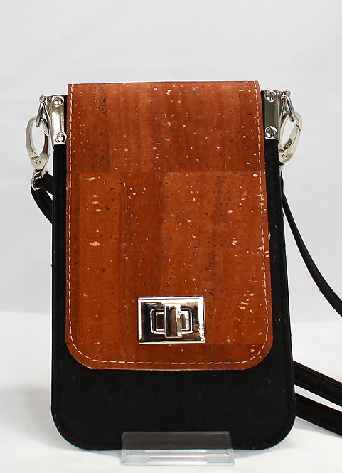 Cell Phone Cross Body Handbag - Cinnamon & Black