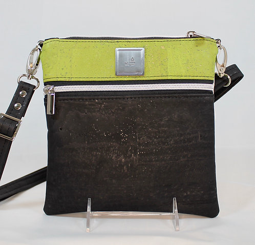 Multi-Zip Cross Body - Black & Green Apple