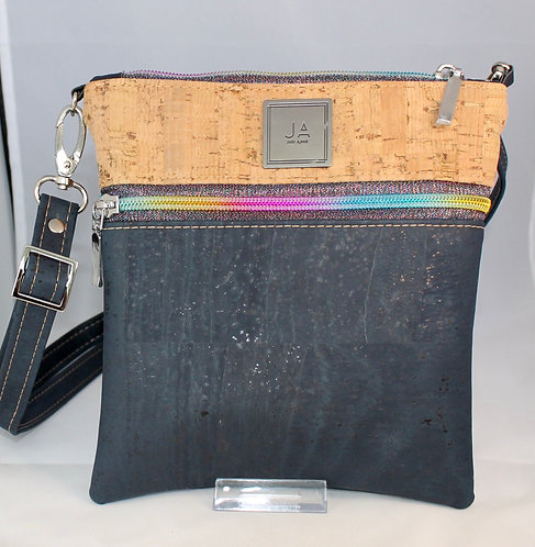 Multi-Zip Cross Body -Navy Blue & Natural with multi-colour Zips
