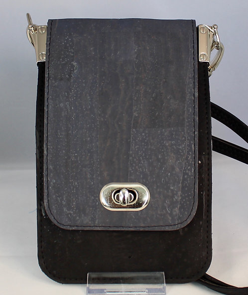 Cell Phone Cross Body Handbag - Black & Charcoal Grey