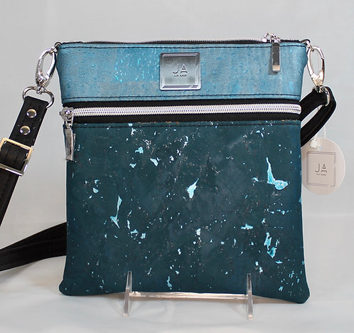 Multi-Zip Cross Body - Dark & Light Turquoise