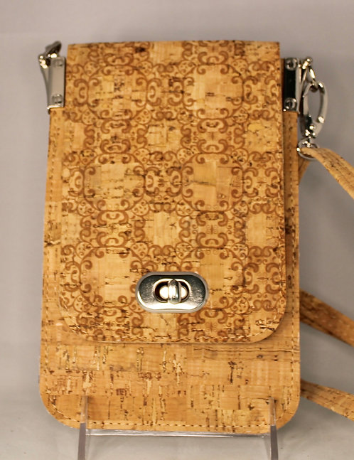 Cell Phone Cross Body Handbag -Natural with Natural Swirl Front Flap