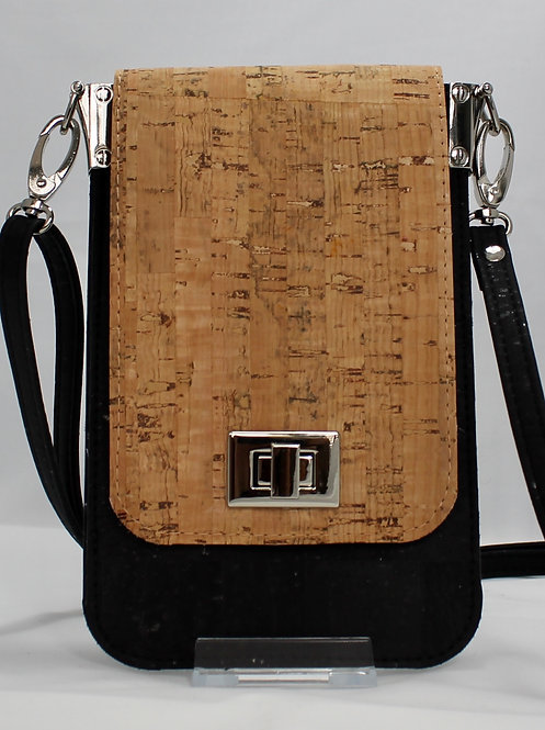 Cell Phone Cross Body Handbag -Natural & Black