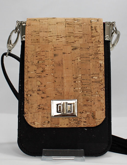 Cell Phone Cross Body Handbag - Natural & Black