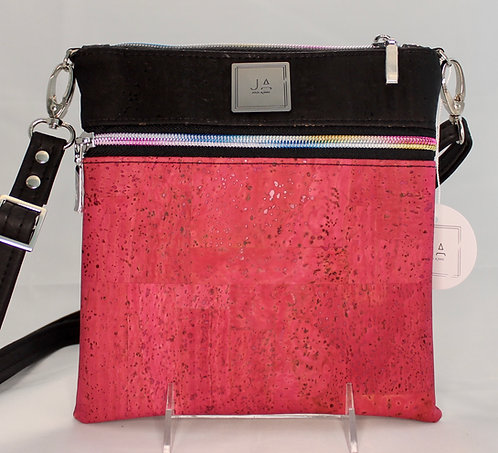 Multi-Zip Cross Body -Pink & Black