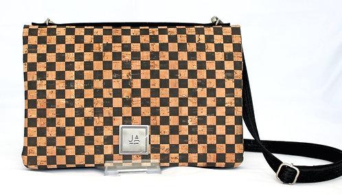 2-In-1 Crossbody Handbag - Black & Natural Check