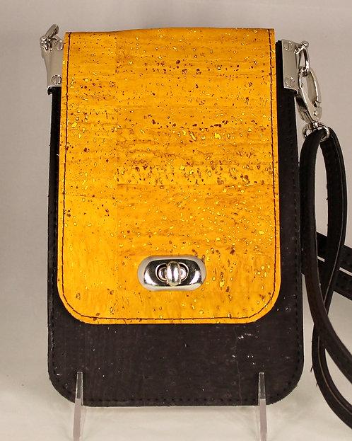 Cell Phone Cross Body Handbag - Black & Gold