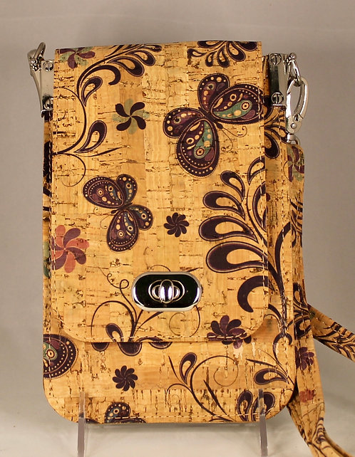 Cell Phone Cross Body Handbag -Natural Butterfly Floral