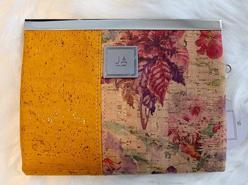 Large Wallet/Clutch - Gold & Floral Print