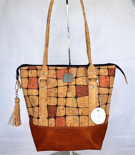 Shoulder Bag - Mod Natural Squares & Cinnamon