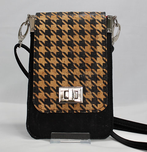 Cell Phone Cross Body Handbag - Black Houndstooth