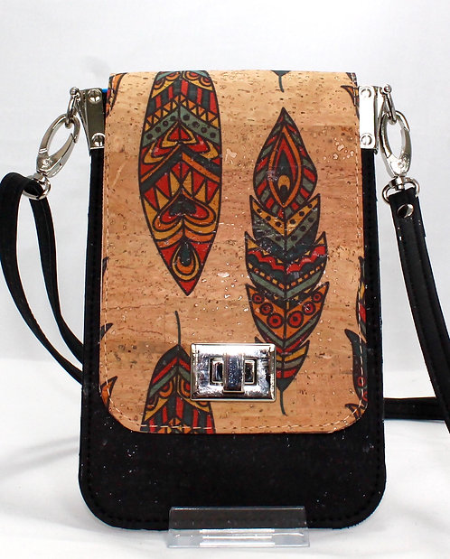 Cell Phone Cross Body Handbag - Multi-colour Feather & Black
