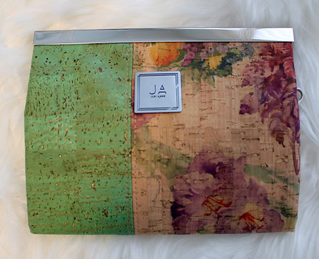Large Wallet/Clutch - Green Apple & Floral Print