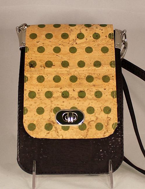Cell Phone Cross Body Handbag - Black & Green Polka Dots