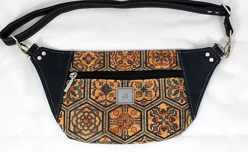 Hip/Sling Bag -Navy & Multi-colour Goa Tile