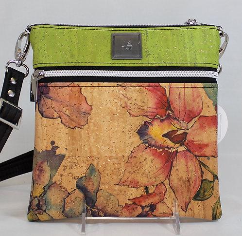 Multi-Zip Cross Body -Watercolour Floral & Green Apple
