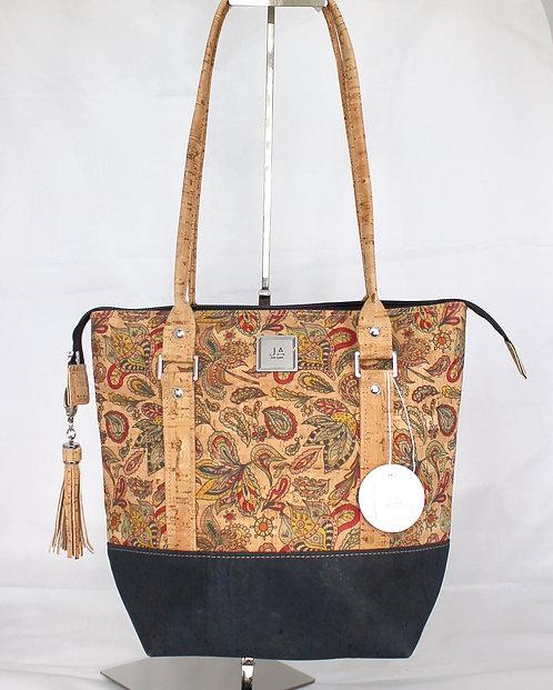 Shoulder Bag - Natural Paisley & Navy