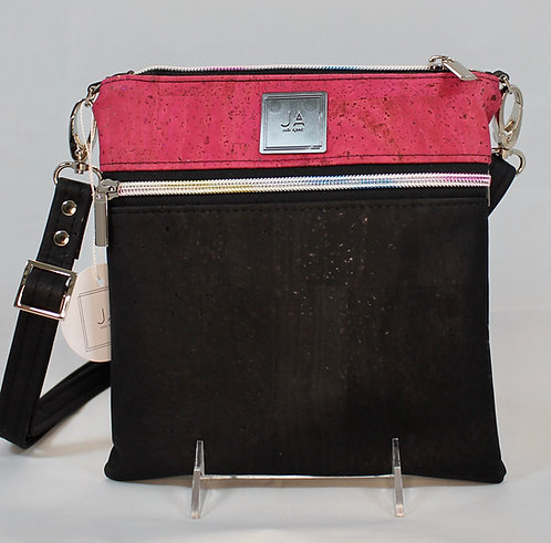 Multi-Zip Cross Body - Black & Pink