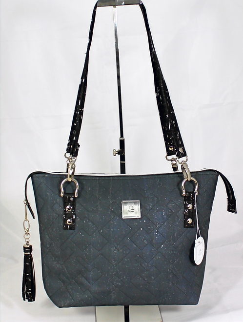 Quilted Shoulder Bag -Charcoal Grey with Black & Silver Accents