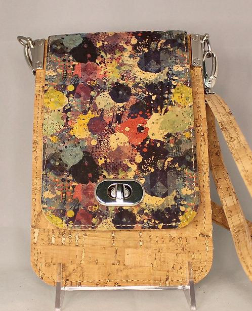 Cell Phone Cross Body Handbag -Natural & Multi-colour Front Flap
