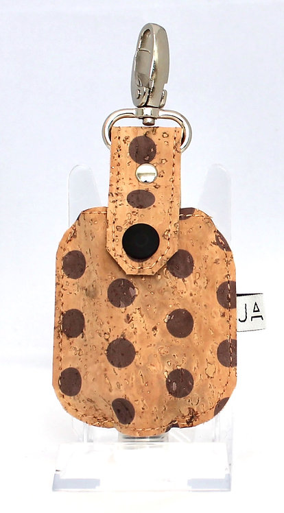 Essential Hand Sanitizer Caddy - Natural with MauvePolka Dots