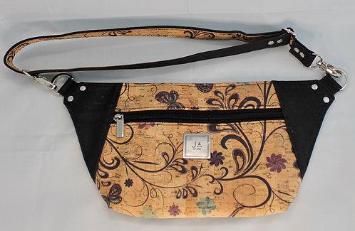 Hip/Sling Bag -Natural Butterfly Floral & Black